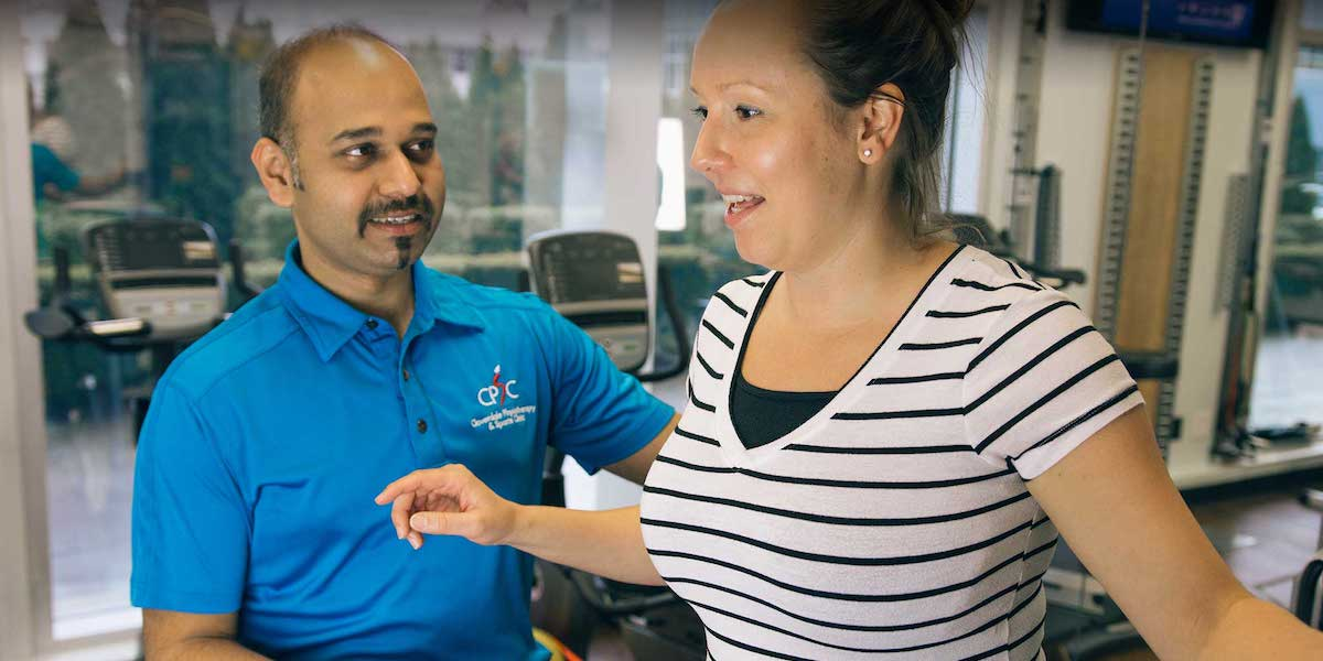 Surrey 88 Ave Nordel Physiotherapy Clinic | Registered Physiotherapist Working With Client | Panorama Physiotherapy & Sports Clinic